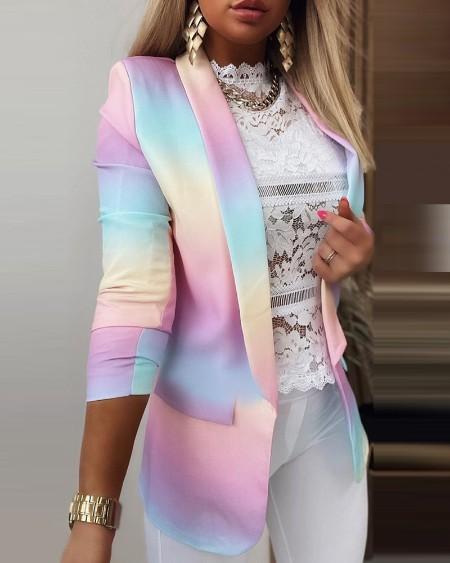 Ombre Colorblock Long Sleeve Blazer Coat Causal Chic Jacket Coat