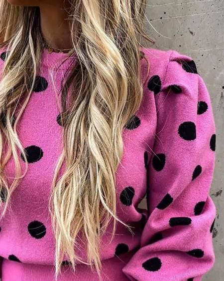Polkadot Print Lantern Sleeve Sweater