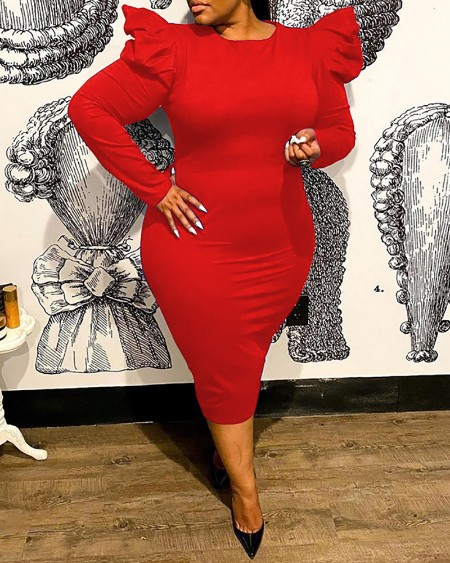 Plus Size Puff Sleeve Skinny O Neck Dress