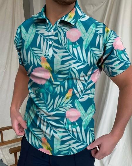 Mens Leaves Bird Petal Printed Short Sleeve Polo Shirt