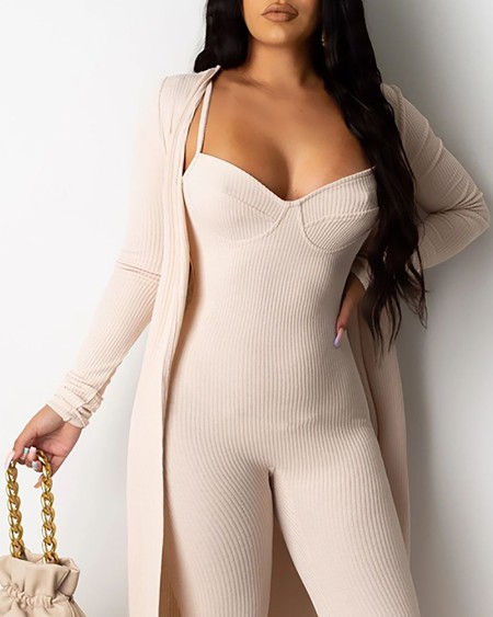 Spaghetti Strap Skinny Jumpsuit With Long Sleeve Coat
