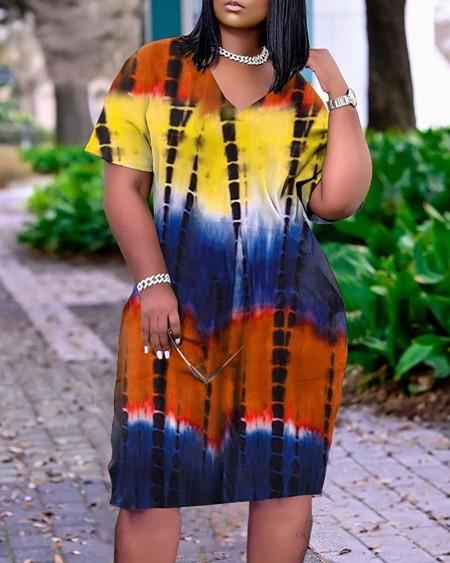 Short Sleeve Pocket Design Tie Dye Print Dress