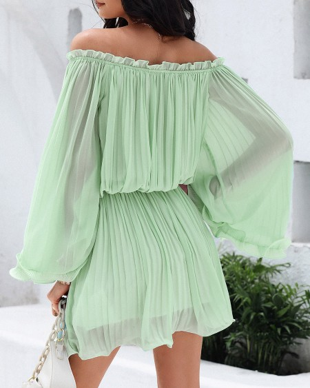 Plain Off Shoulder Ruched Bell Sleeve Casual Dress