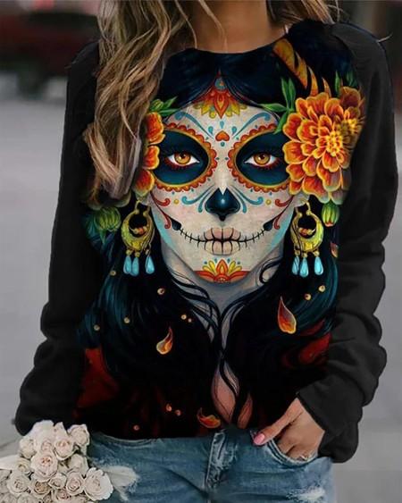 Halloween Figure Floral Print Casual Sweatshirt