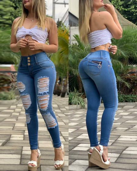Buttoned Wide Band Waist Zipper Decor Ripped Skinny Jeans