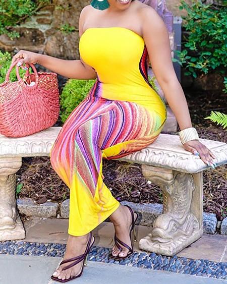 Plus Size Bandeau Colorblock Skinny Maxi Dress