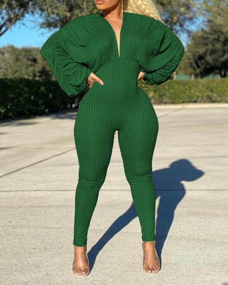Ribbed Plunge Ruched Lantern Sleeve Jumpsuit