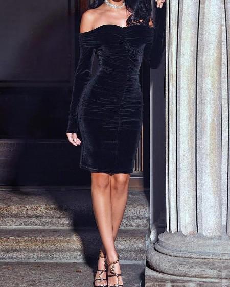 Velvet Off Shoulder Ruched Bodycon Dress