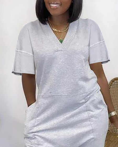 V-Neck Pocket Design Short Sleeve Jumpsuit