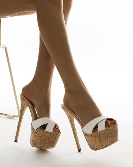 Round-toe Cross Strap Open-toe Stiletto Heels