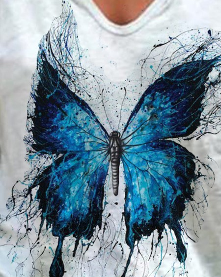 Butterfly Print Short Sleeve V-Neck Casual T-shirt