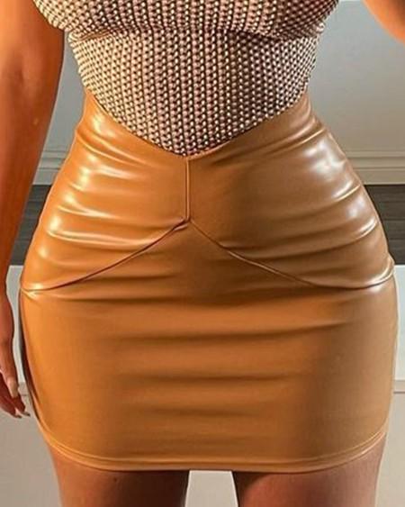 Knit Keyhole Neckline Sleeveless Tee & PU Leather Skirt Set