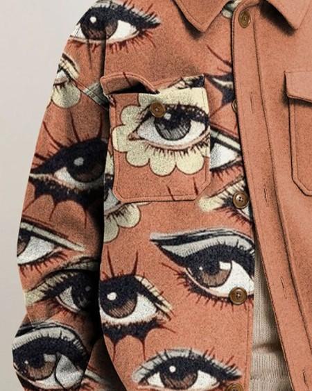 Mens Fashion Patchwork Eyes Print Long Sleeve Pockets Jacket