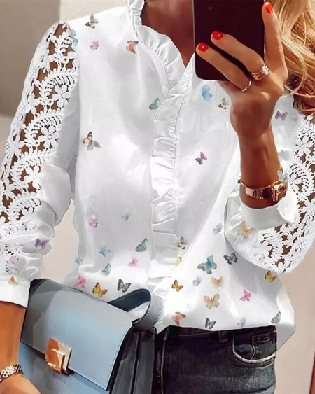 Lace Butterfly Print V-Neck Long Sleeve Patchwork Casual Blouse