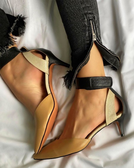 Pointed-toe Color Block PU Leather Shallow Mouth High Heels