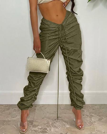 Drawstring Ruched High Waist Pants