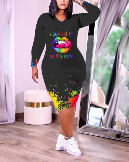 Plus Size Ink Splash Lip Letter Print Long Sleeve Dress