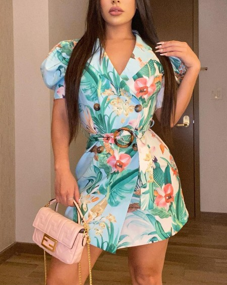 Floral Print Puff Sleeve Tie Front Dress