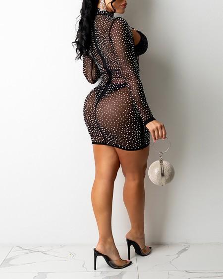 Plus Size Rhinestone Contrast Sequin Cutout Bodycon Dress