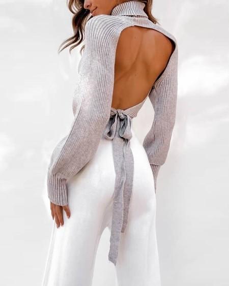 Tied Open Back Rib-knit Sweater
