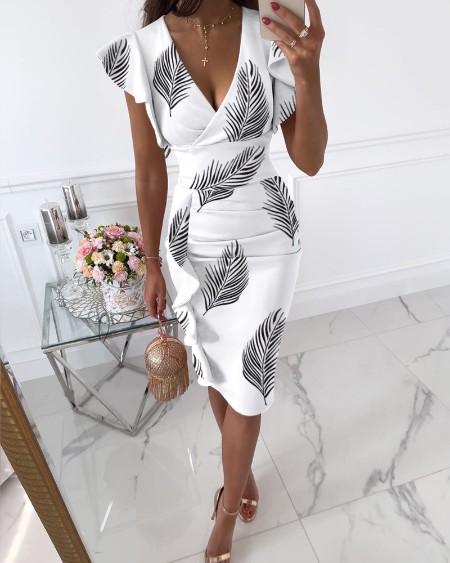 Leaf Print Ruffle Hem Ruched Dress