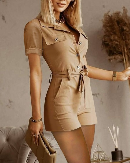 Frock Button Front Pocket Design Sleeveless Jumpsuit With Belt