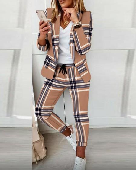 Long Sleeve Plaid Print Blazer Coat & Drawstring Pants Set