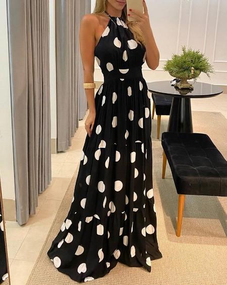 Polka Dot Print Halter Backless Ruched Maxi Dress Elegant Party Sleeveless Dress