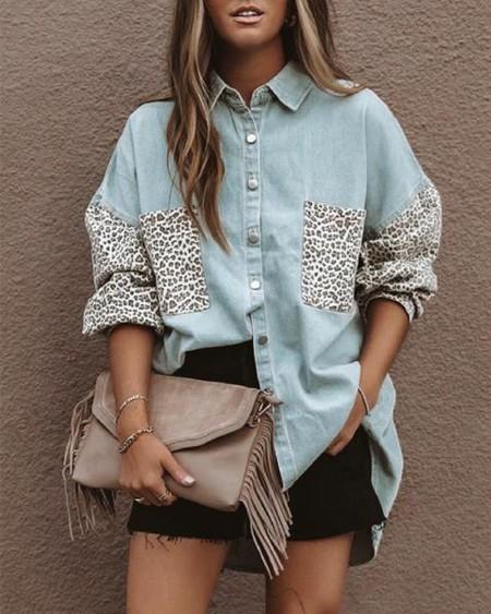 Leopard Print Drop Shoulder Button Up Denim Shirt
