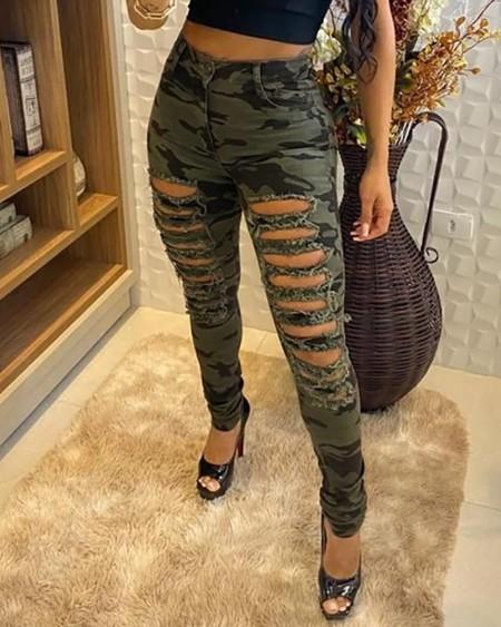 Camouflage Print Fringe Hem Cutout Jeans