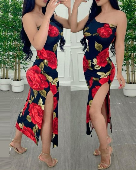 One Shoulder Floral Print High Slit Skinny Dress