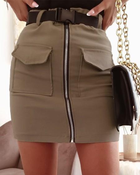 Zip Front Pocket Design Skirt Without Belt