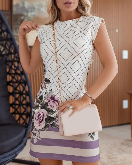 Geo Pattern Striped Floral Print Short Sleeve Casual Dress