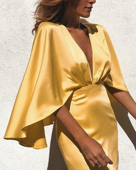 Satin Deep V-Neck Cape Bodycon Dress
