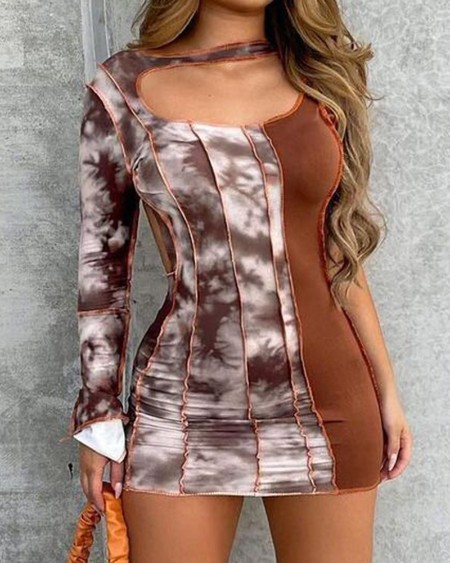Tie Dye Print Patchwork Cutout Backless Bodycon Dress