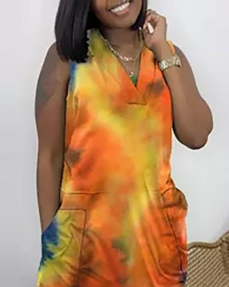 Tie Dye Print Pocket Design Sleeveless Jumpsuit