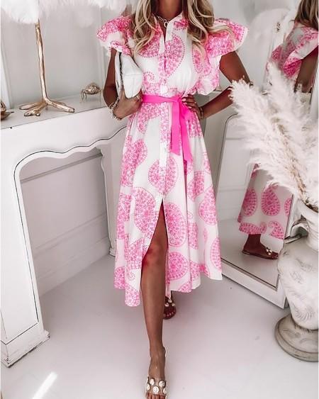 Paisley Pattern Print Flutter Sleeve Slit Shirt Dress Casual Sleeveless Long Shirt Dress