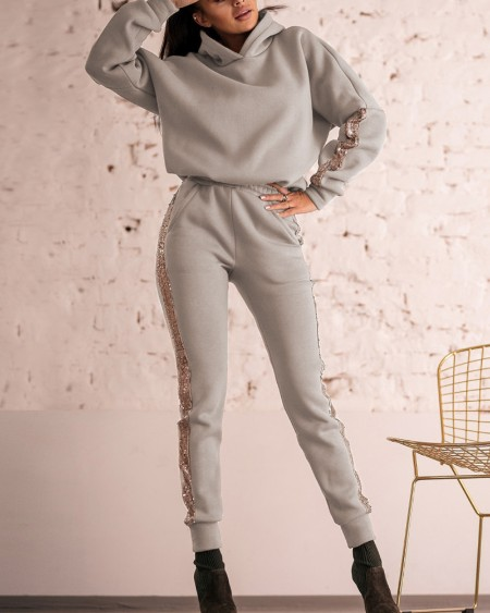 Contrast Sequin Hooded Sweatshirt & Pocket Pants Set