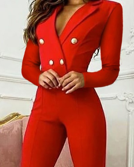 Double Breasted Long Sleeve Blazer Jumpsuit