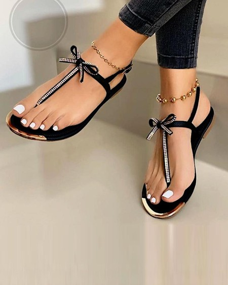 Bow Tie Slide Sandals
