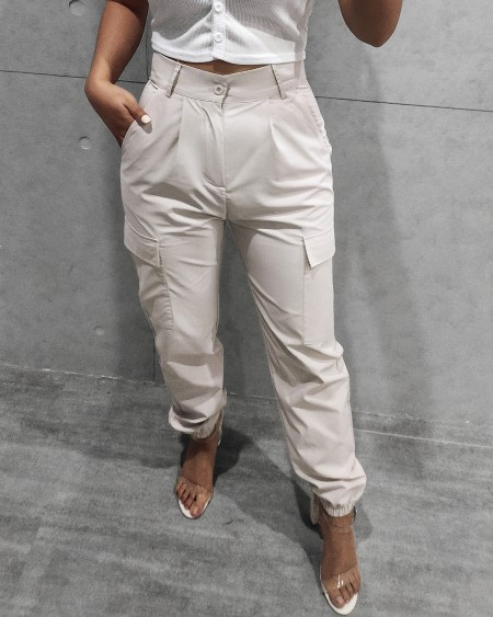 Pocket Design High Waisted Casual Pants