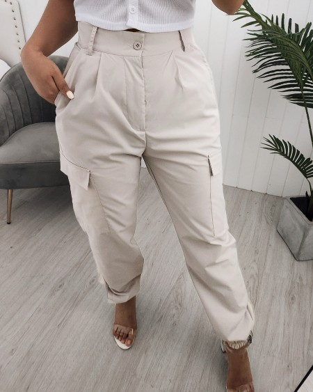 Pocket Design High Waisted Casual Pants