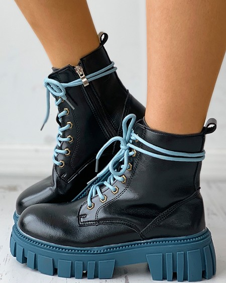 Eyelet Lace-up Colorblock Combat Boots