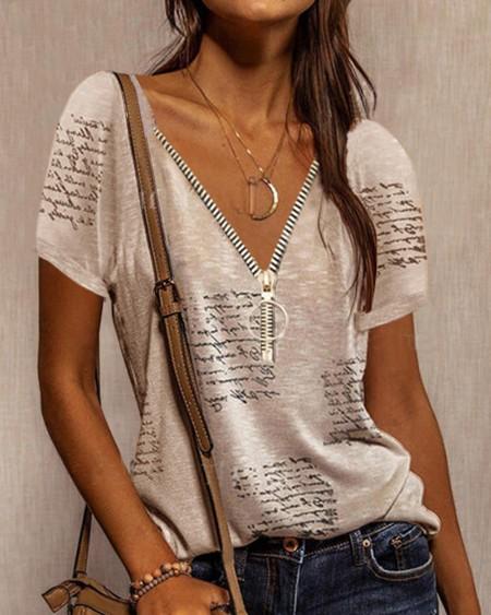 Letter Print Zipper Front T-shirt