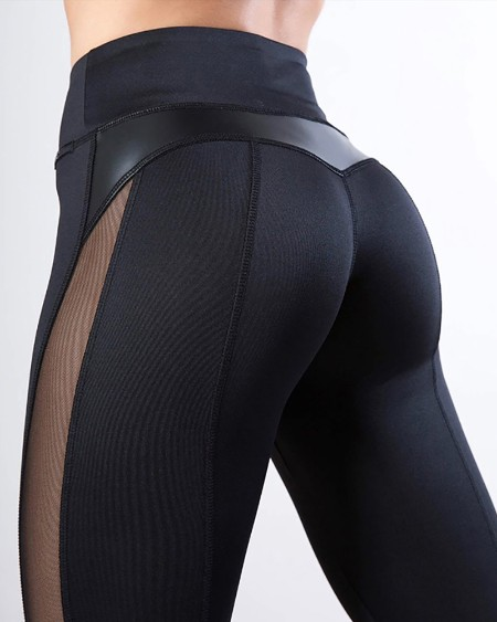 High Waist Sheer Mesh Yoga Pants Tummy Control Butt Lift Slimming Booty Leggings
