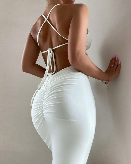 Halter Crisscross Backless Ruched Bodycon Dress