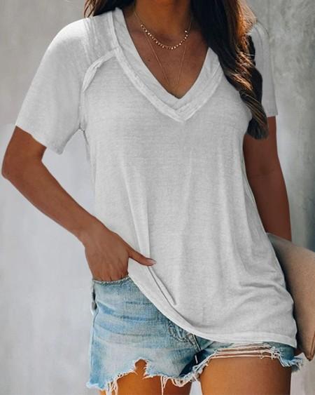 V-neck Plain Short Sleeve Casual T-shirt