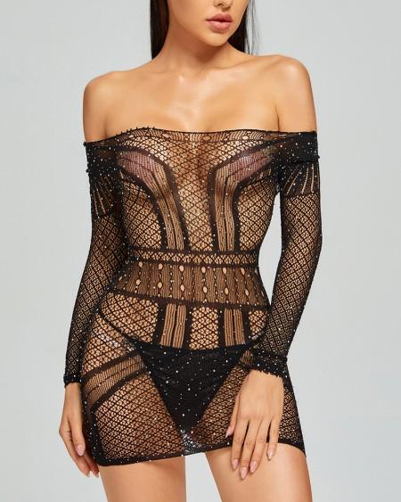 See-through Fishnet Splicing Rhinestone Off Shoulder Long Sleeve Mini Dress