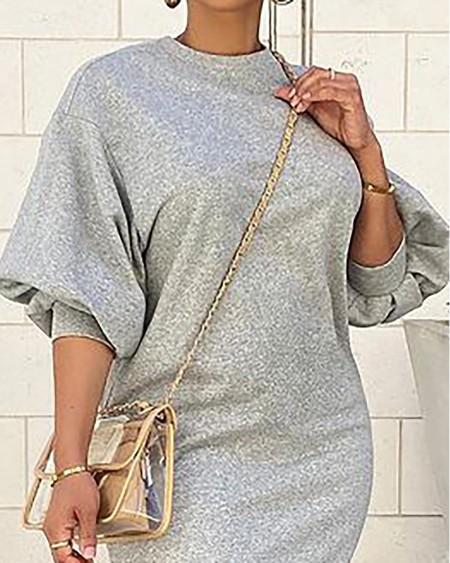 Lantern Sleeve O Neck Casual Dress