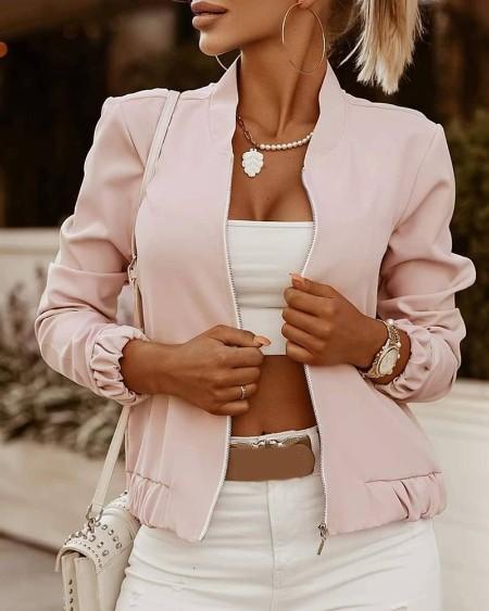 Long Sleeve Zip Front Casual Jacket